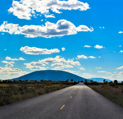 Nearby Road B Facing South West Garcia just ahead & Ute Mountain